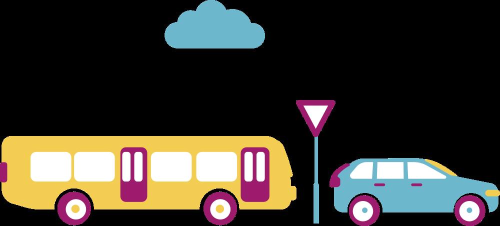 Geabstraheerd straatbeeld met bus, verkeersbord en auto