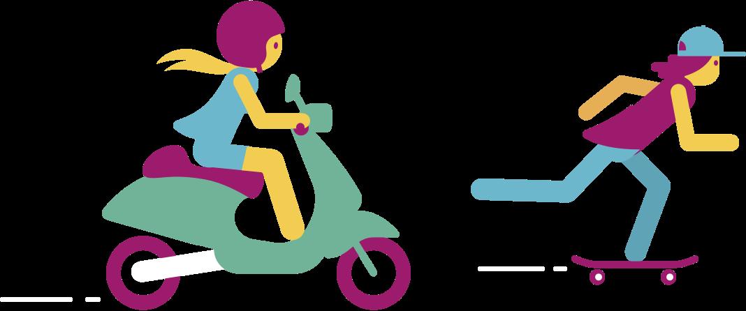 Geabstraheerd beeld van scooterrrijder en skateboarder