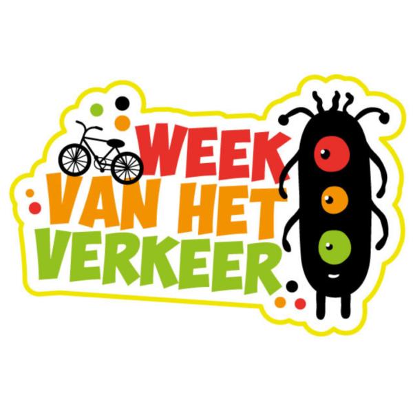 sticker week van het verkeer met stoplicht